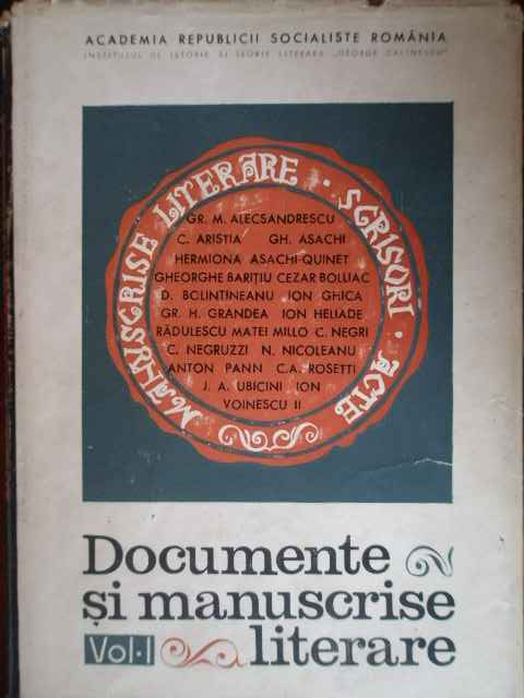 DOCUMENTE SI MANUSCRISE LITERARE VOL.1                                                    ...