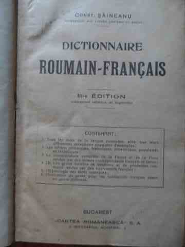 dictionnaire roumain-francais iii-e edition                                                          const. saineanu