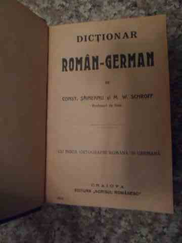 dictionar roman-german                                                                               const. saineanu   m. w. schroff
